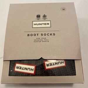 Hunter Cardigan Knit Boot Socks Gray Fleece Sz M